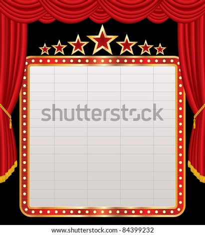 vector blank billboard on red stage - stock vector