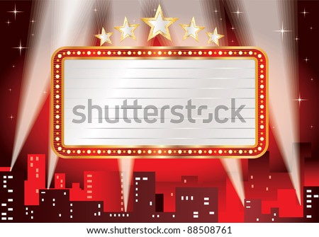 vector blank billboard over hot night in the city - stock vector