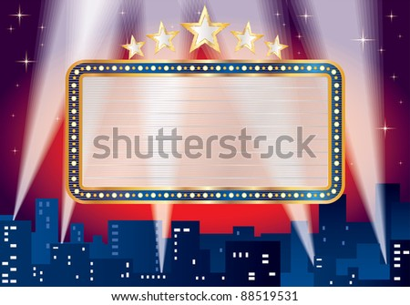 vector blank billboard over night in the blue city - stock vector