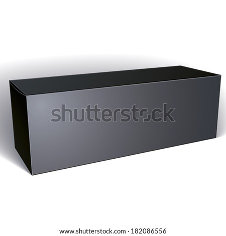 Vector blank black box isolated on white background, template for your package design, put your image over the pack, illustration eps 8. - stock vector