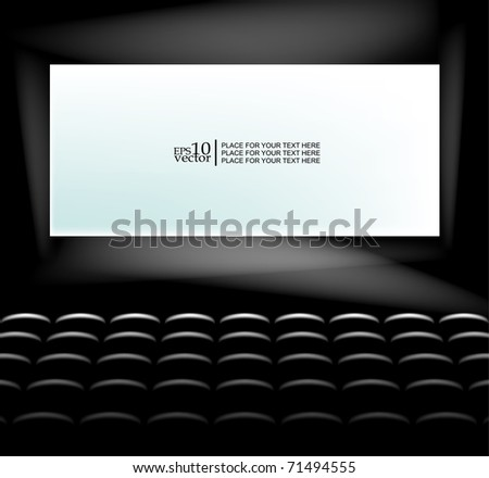 Vector blank cinema screen lighting with seats - stock vector