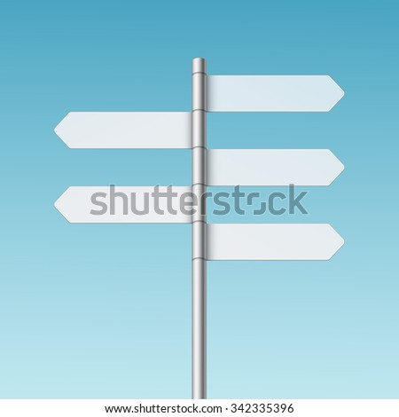 Vector Blank Direction Signpost Sign Arrow Icon Isolated on Background - stock vector