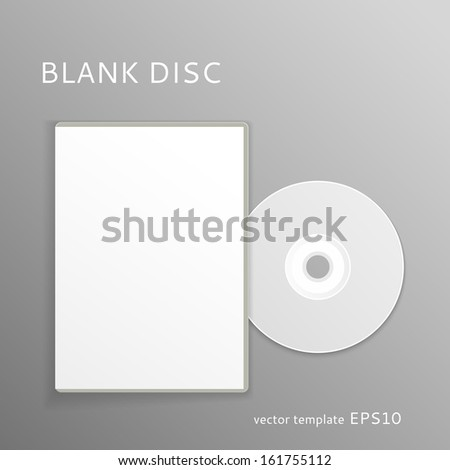 Vector blank  DVD with paper cover isolated on gray background
