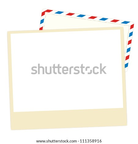 Vector blank empty postcard with an airmail behind it.