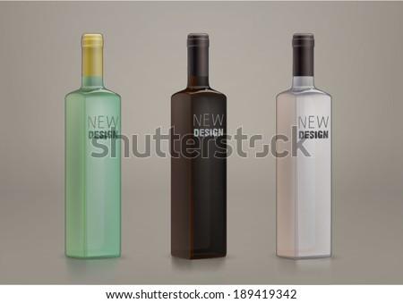 vector blank glass bottles for new design - stock vector