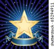 vector blank golden movie star in starry night - stock vector