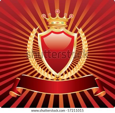 vector blank label with wheat and crown - stock vector