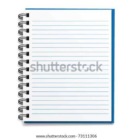 vector blank lined notebook - stock vector