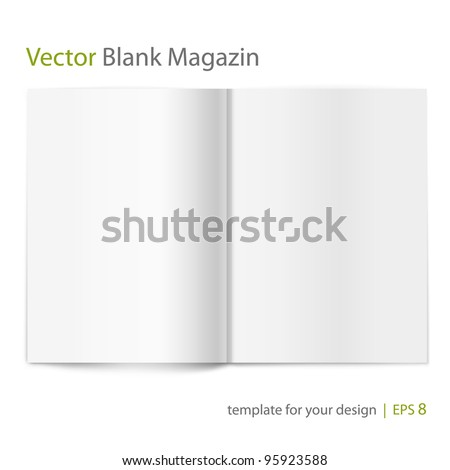 Vector blank magazine on white background. Template for design - stock vector