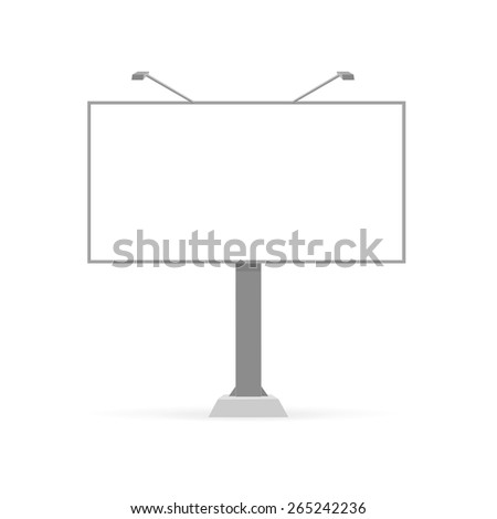 Vector Blank Outdoor Billboard with Place for Message on White Background - stock vector