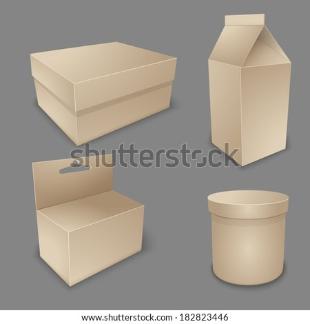 Vector blank packing collection. Set of  paper packaging and stationery elements - stock vector