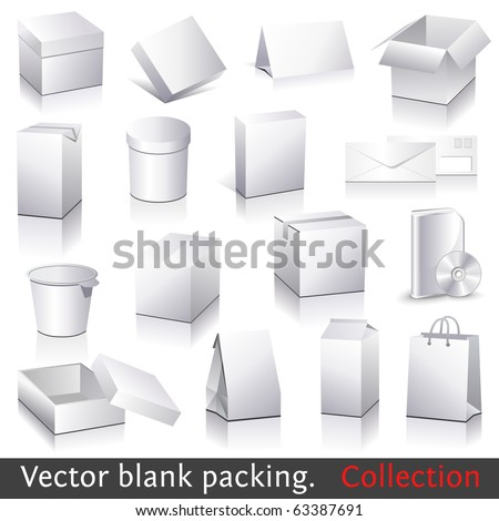 Vector blank packing collection. Set of white paper packaging and stationery elements. Dummies set to place your design on. - stock vector