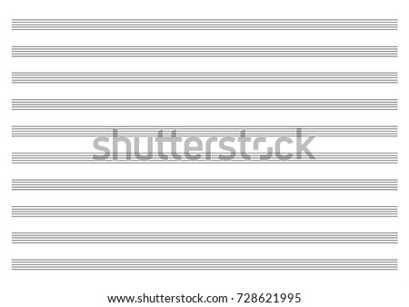 vector blank page of music paper with empty staves landscape