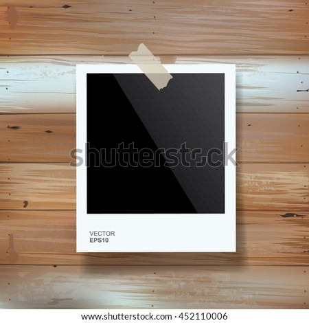 Vector blank photo frame stick on vintage wooden texture. - stock vector
