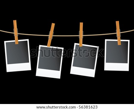 vector blank photos on rope - stock vector