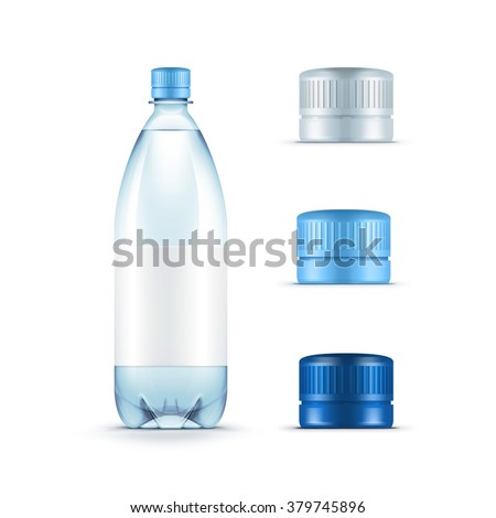 Vector Blank Plastic Blue Water Bottle with Set of Caps Isolated on White Background - stock vector