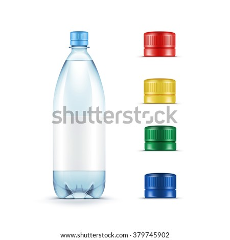 Vector Blank Plastic Blue Water Bottle with Set of Multicolored Red Yellow Green Caps Isolated on White Background - stock vector