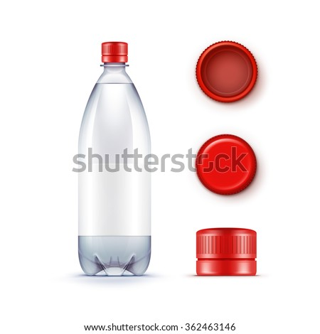 Vector Blank Plastic Blue Water Bottle with Set of Red Caps Isolated on White Background - stock vector