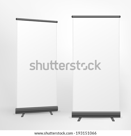 vector blank roll up banner on white background