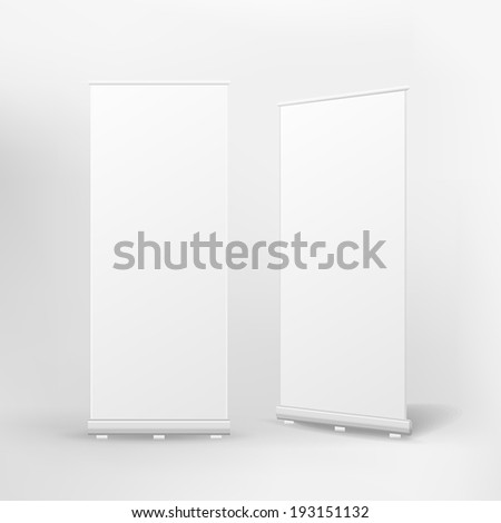 vector blank roll up banner on white background - stock vector