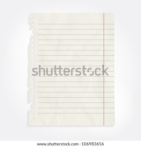 vector blank sheet of crumpled notebook paper - stock vector