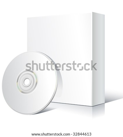 vector blank software box with cd - stock vector