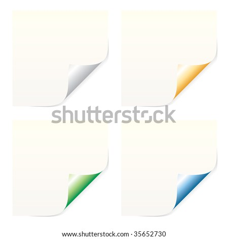 vector blank sticky labels in four colors