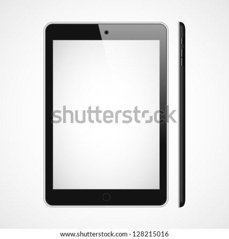 Vector blank tablet on white bakground. Front and right sides. - stock vector