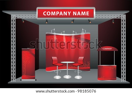 Vector Blank trade exhibition stand with screen, counter, chair, roll-up banner and lights with identity background ready for use. - stock vector