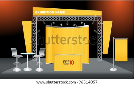 Vector Blank trade exhibition stand with screen, counter, seats, roll-up banner and lights - stock vector