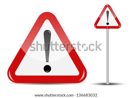 Vector Blank Traffic Sign isolated on white background - stock vector