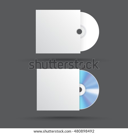 vector blank white compact disk with cover. cd mock up