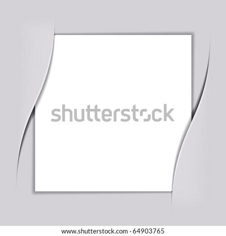 vector blank white square paper - stock vector