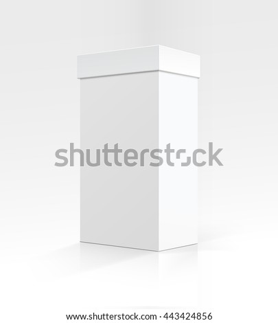 Vector Blank White Vertical Rectangular Carton box in Perspective for package design Close up Isolated on White Background - stock vector