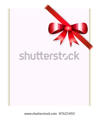 Vector blank with red ribbon and bow