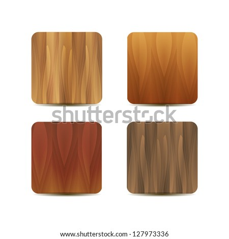 Vector blank wooden application icons - stock vector