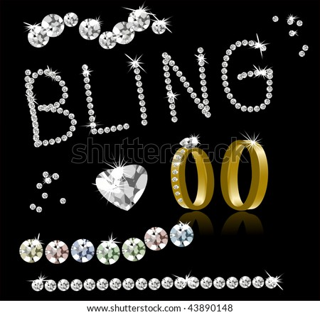 Vector Bling Diamonds and Gold Rings. Easily Write Any Word In Diamonds. Jpeg is also in my portfolio. - stock vector