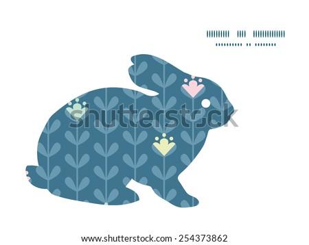 Vector blloming vines stripes bunny rabbit silhouette Easter frame - stock vector
