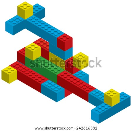 vector blocks constructor toys - stock vector