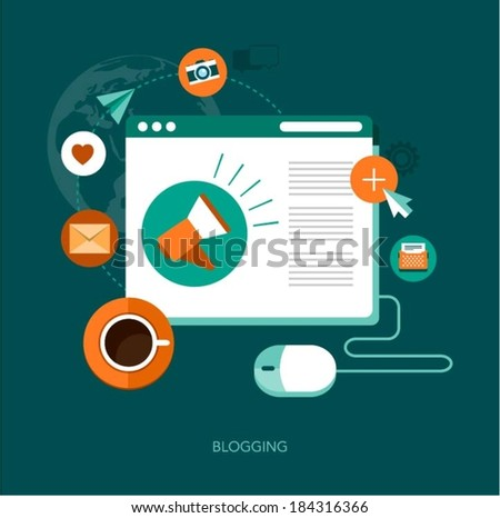 vector blogging concept illustration - stock vector