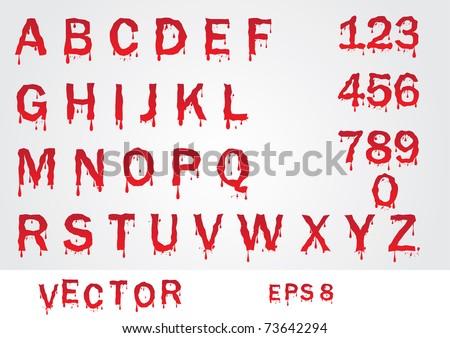 vector blood alphabet - stock vector