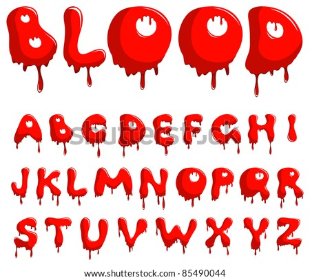 Vector blood alphabet is isolated on a white background - stock vector
