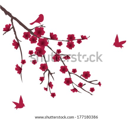 vector blossom branch with red flowers and birds - stock vector