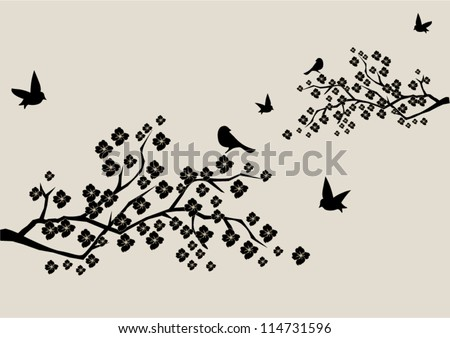 vector blossom branches with birds - stock vector
