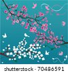 vector blossom branches with birds and butterflies - stock vector