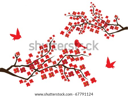 vector blossom branches with red flowers and birds - stock vector