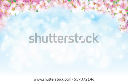 Vector blossoming sakura tree border on sky bokeh background.