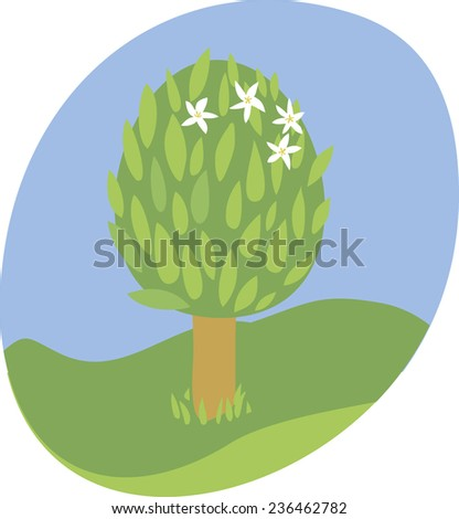 Vector. Blossoming Tree, Spring three icon. - stock vector
