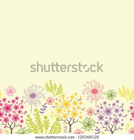 Vector blossoming trees horizontal seamless pattern ornament background with colorful spring flowers.