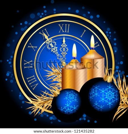 Vector blue and gold christmas background - stock vector